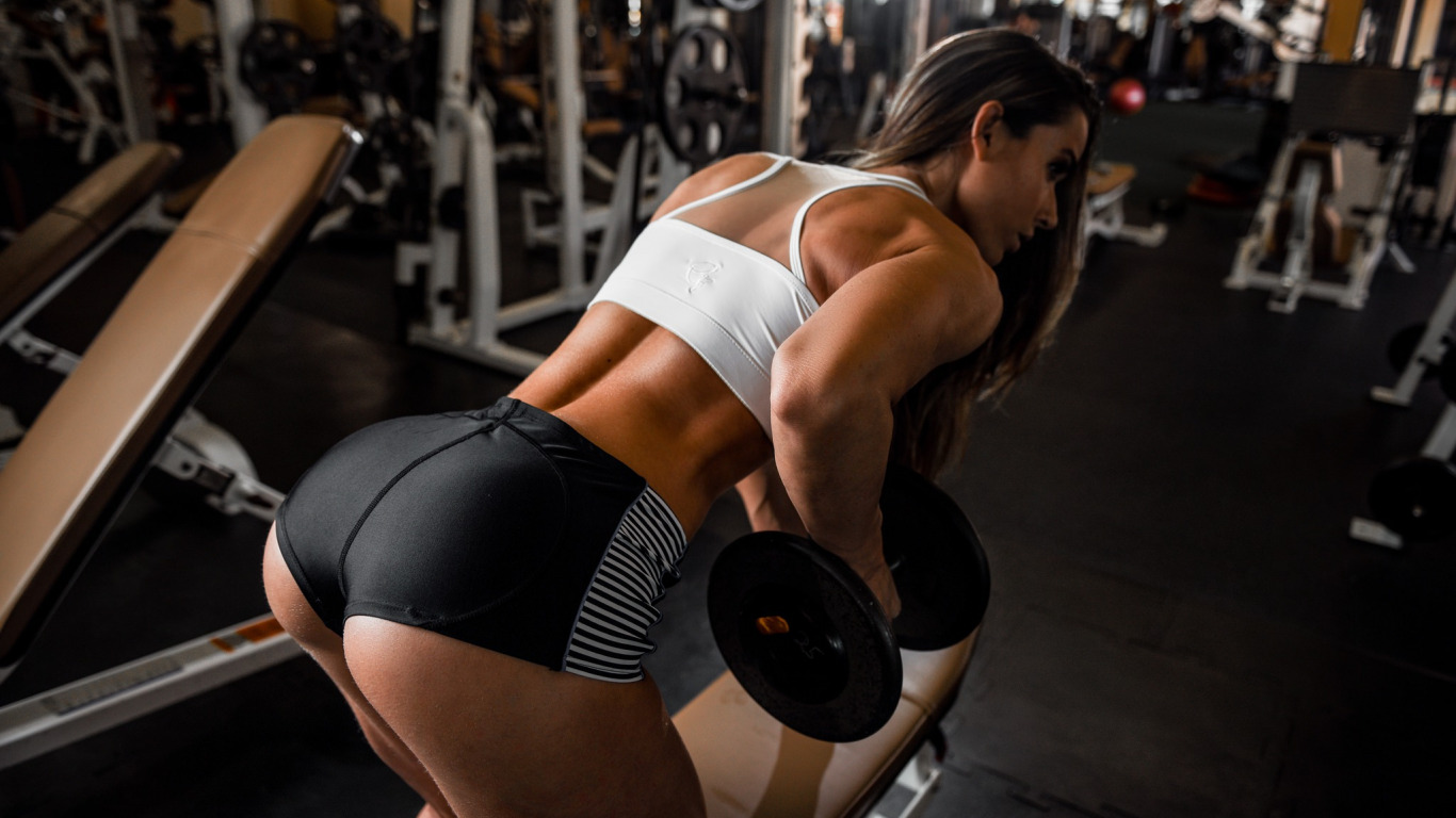 Sexy Young Fitness Girl Pulls Gym Stock Photo