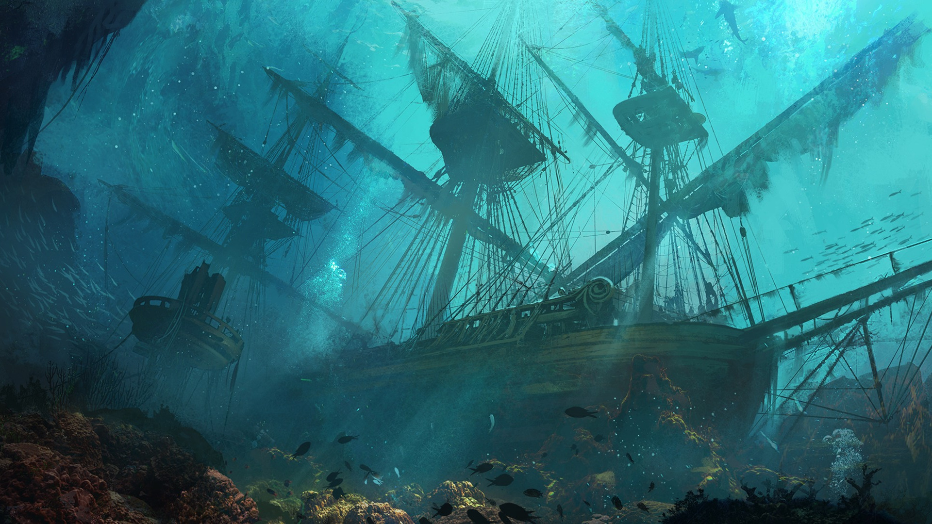 Artwork, shipwreck, underwater wallpapers hd / desktop and m.