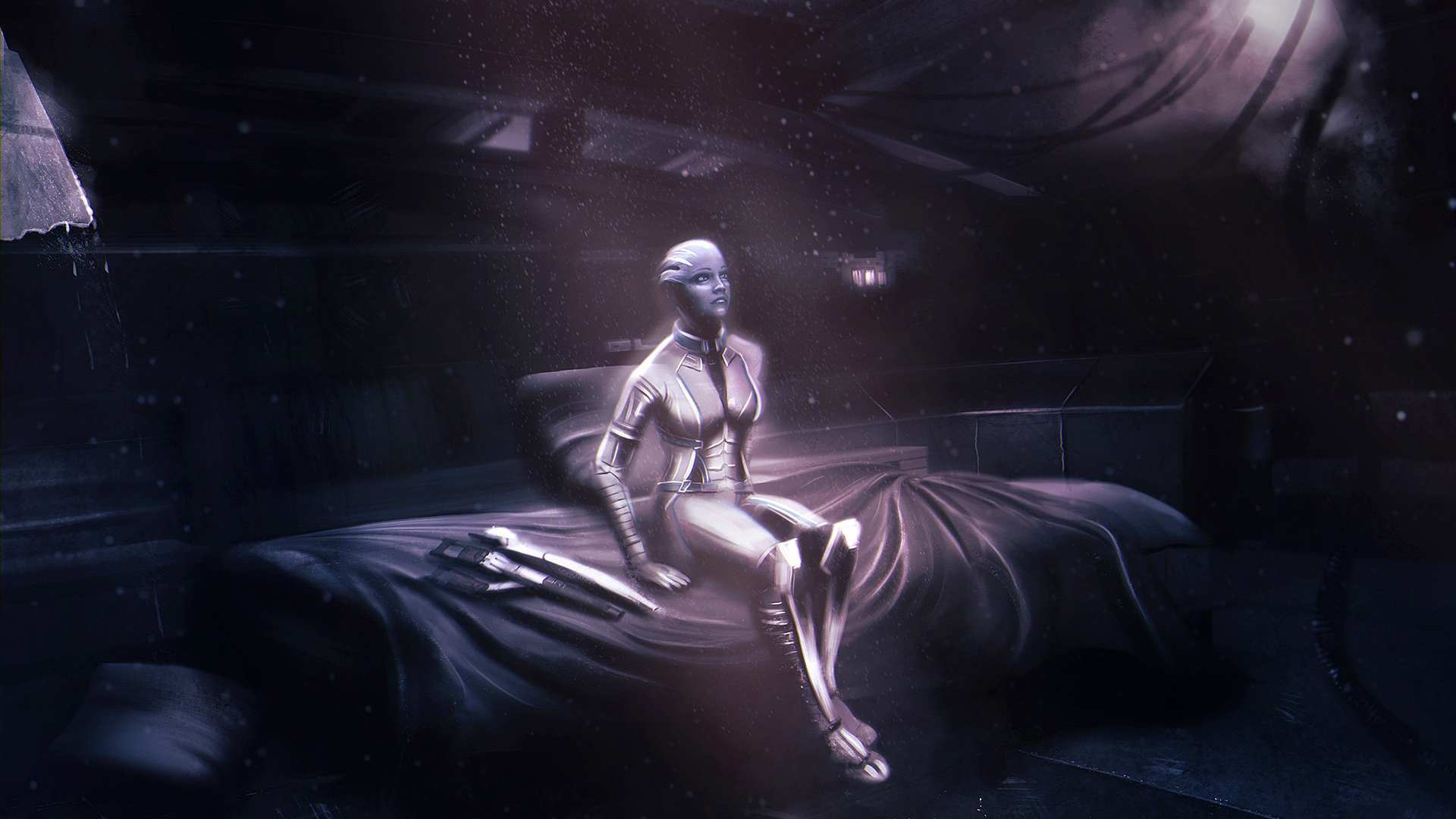 Download Wallpaper Mass Effect Normandy Cabin Asari