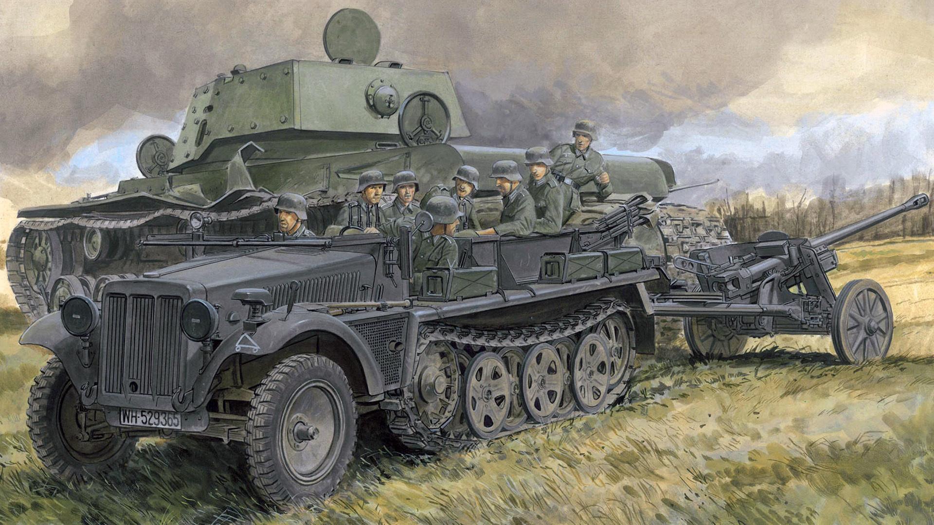 German 50 Mm Anti Tank Gun: Download Wallpaper Figure, Art, Lined, The Second World
