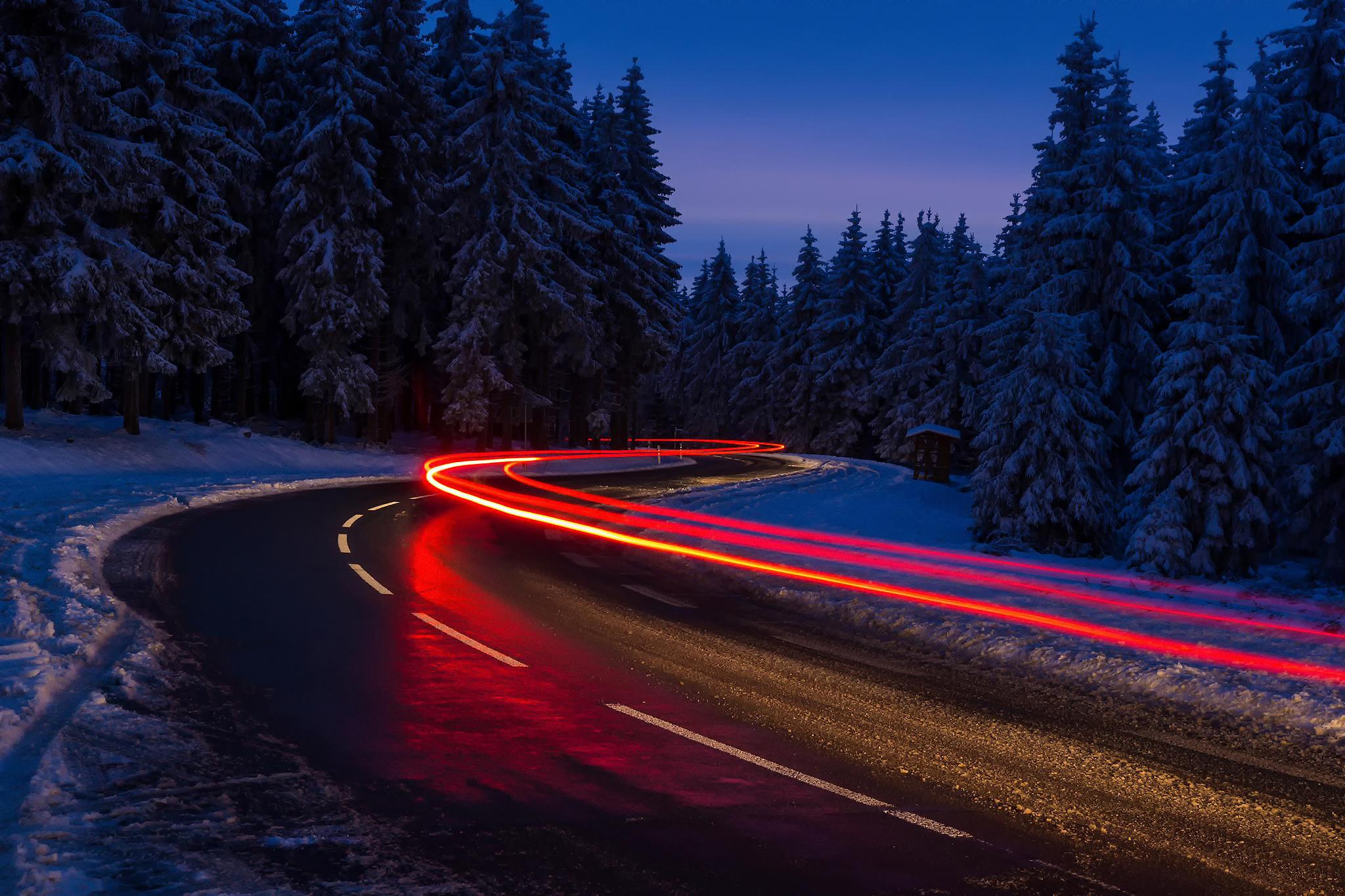 дорога зима вечер снег  № 3902536 без смс