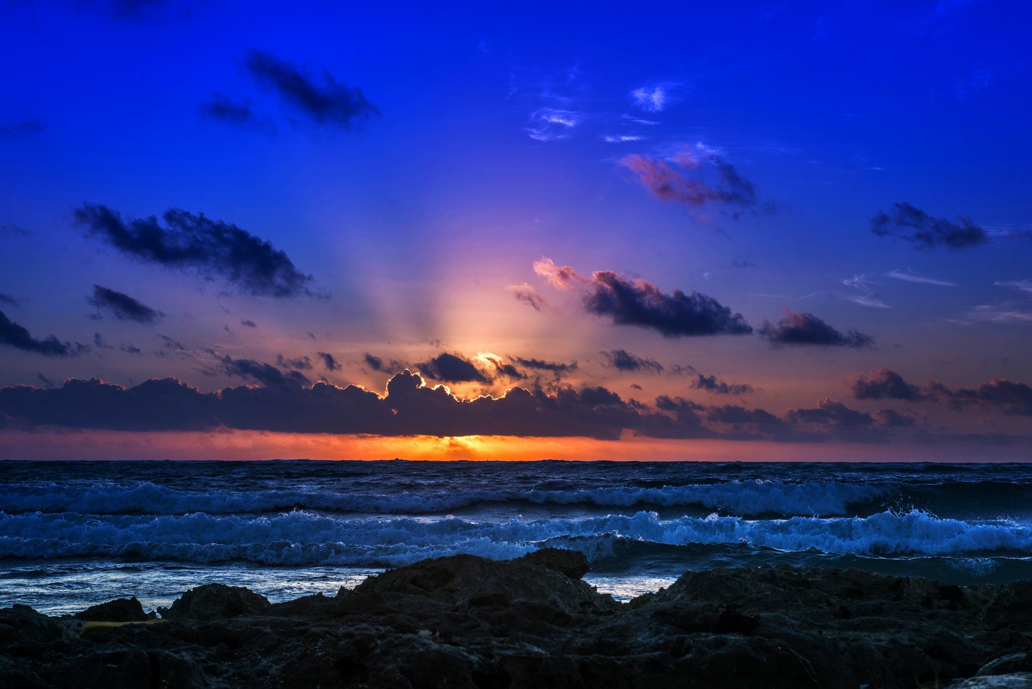 природа море горизонт небо закат  № 2493817 загрузить