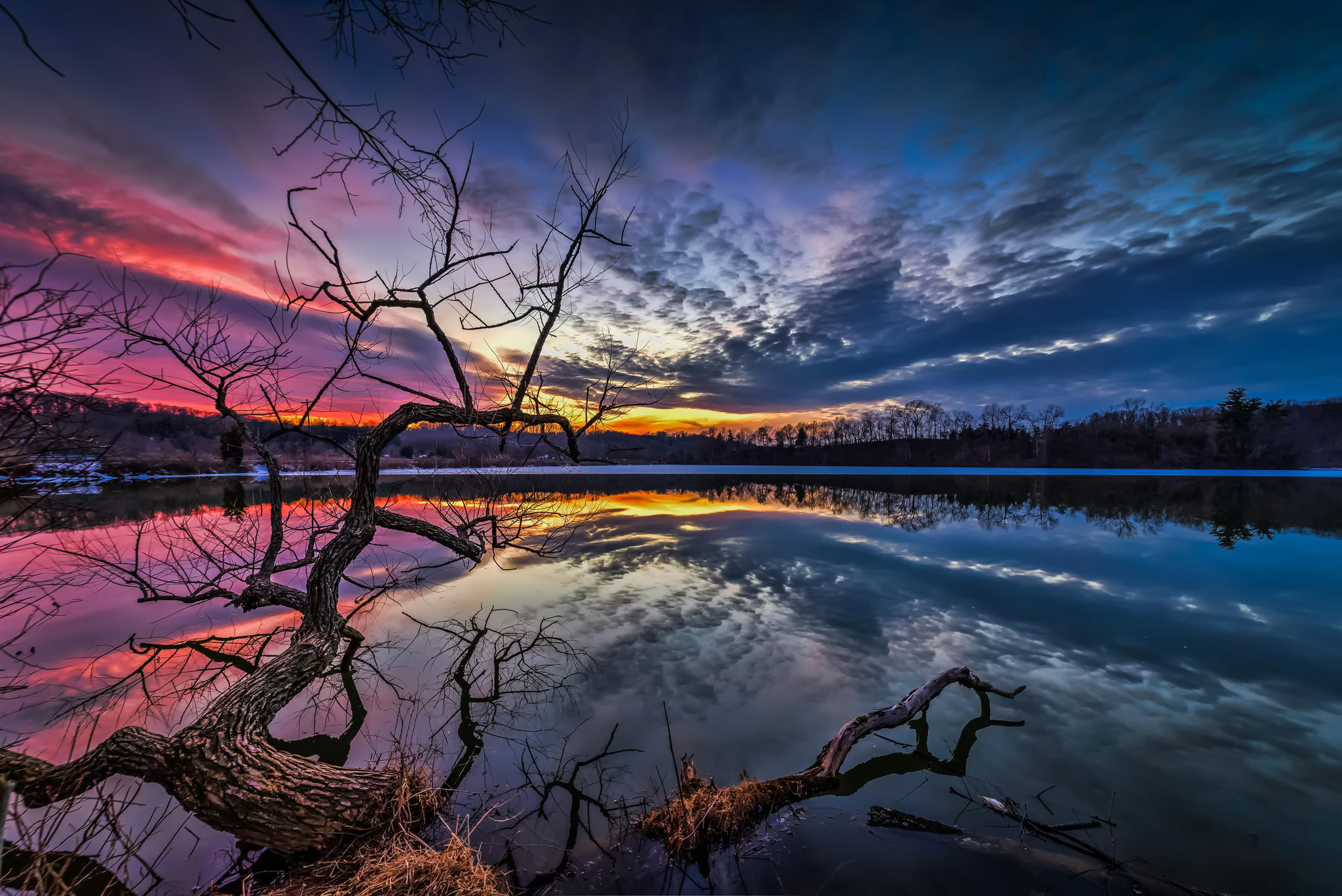 природа озеро деревья небо облака закат  № 1249518  скачать