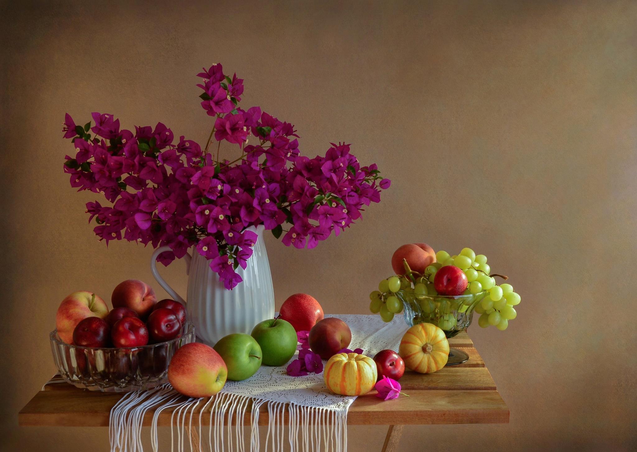 обои на рабочий стол натюрморт с цветами и фруктами № 226447 бесплатно