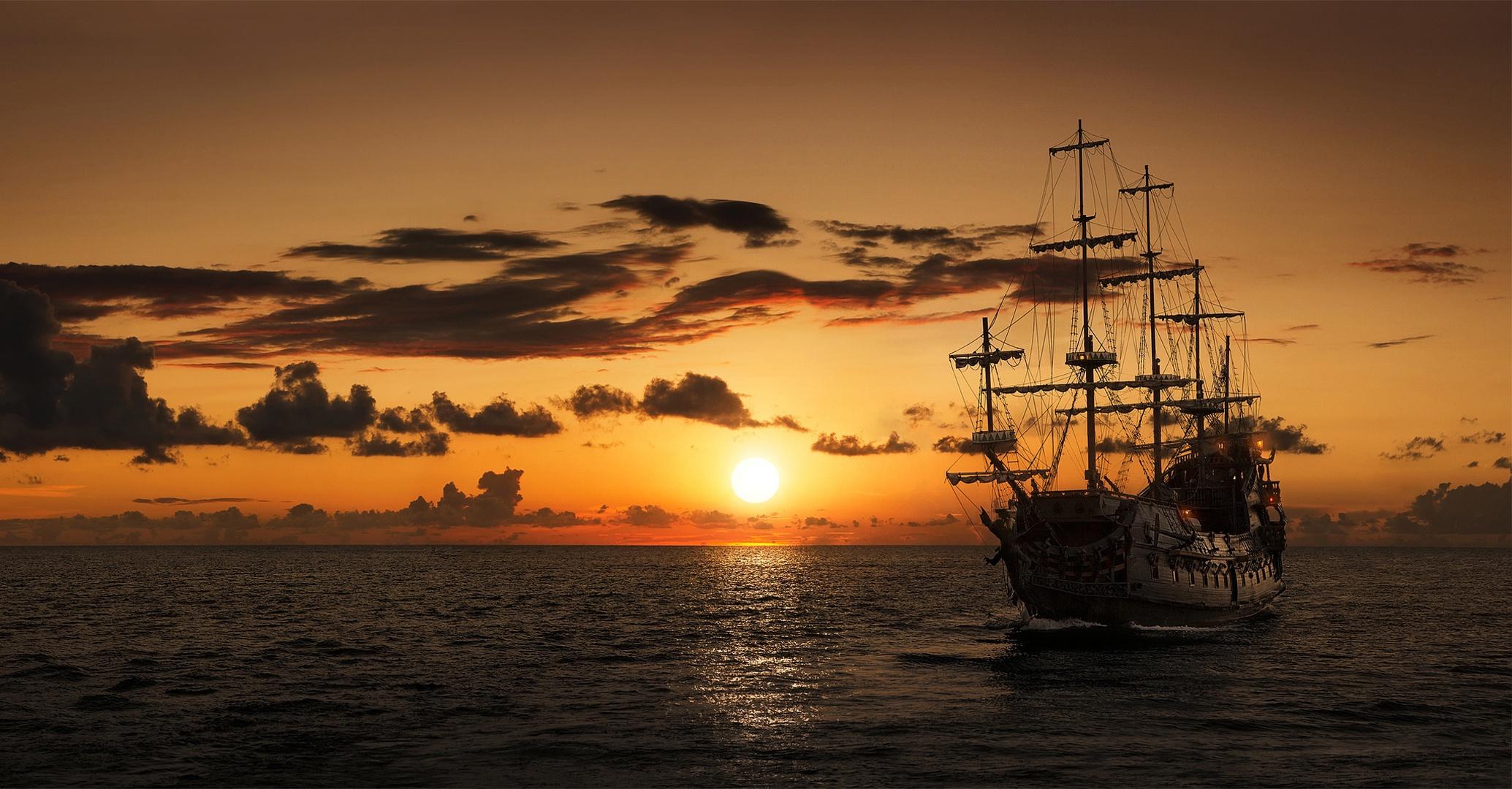 корабли на закате  № 3504027 загрузить