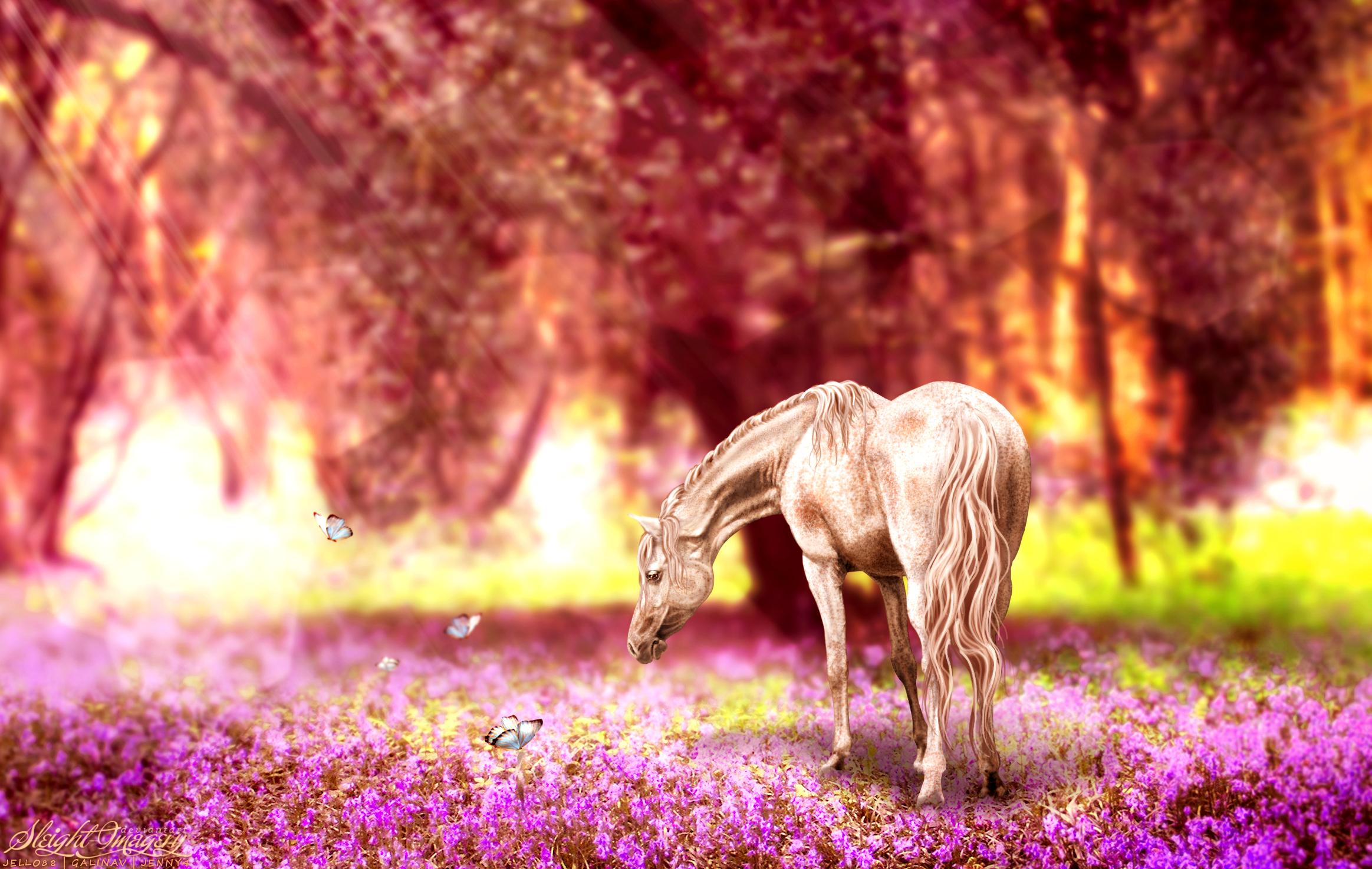 Лошадь в цветах  № 3117203 без смс