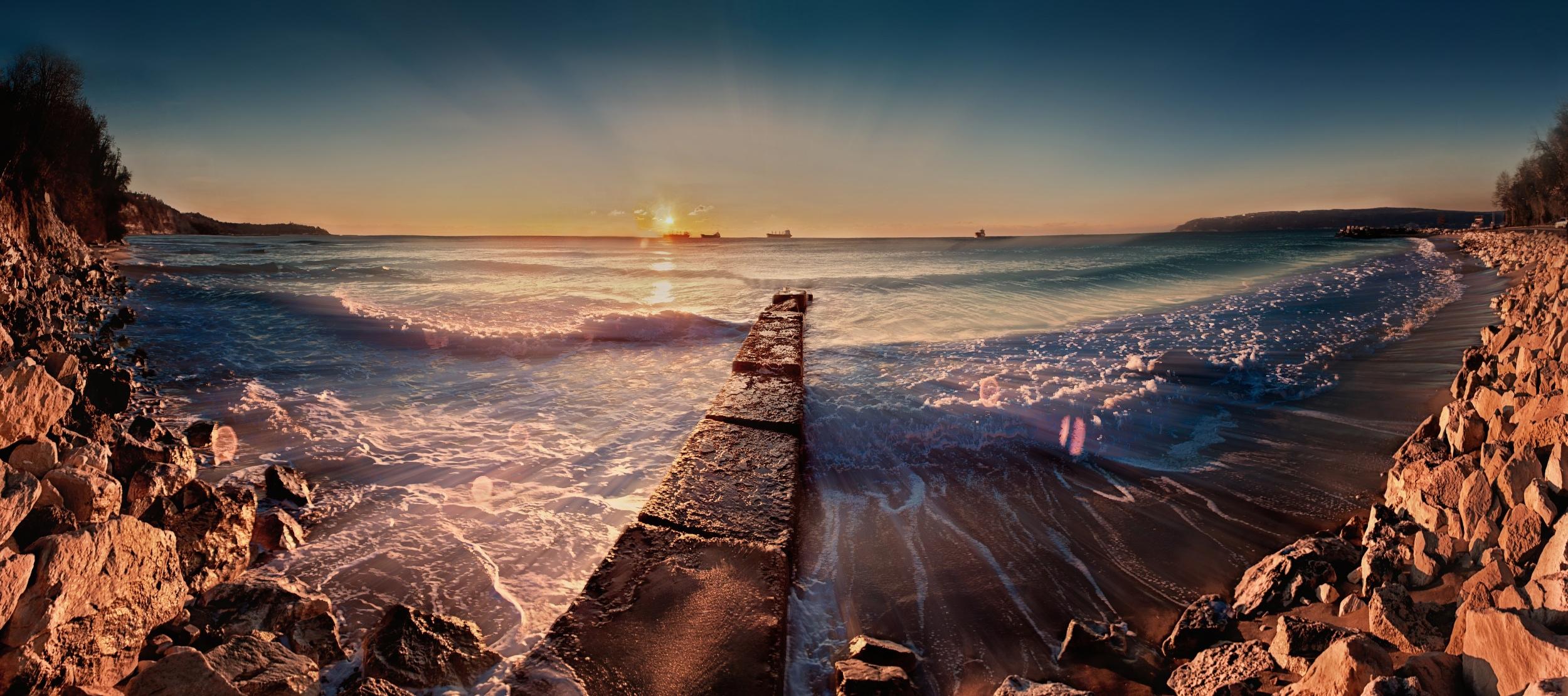 море берег камни закат sea shore stones sunset  № 1033141 бесплатно