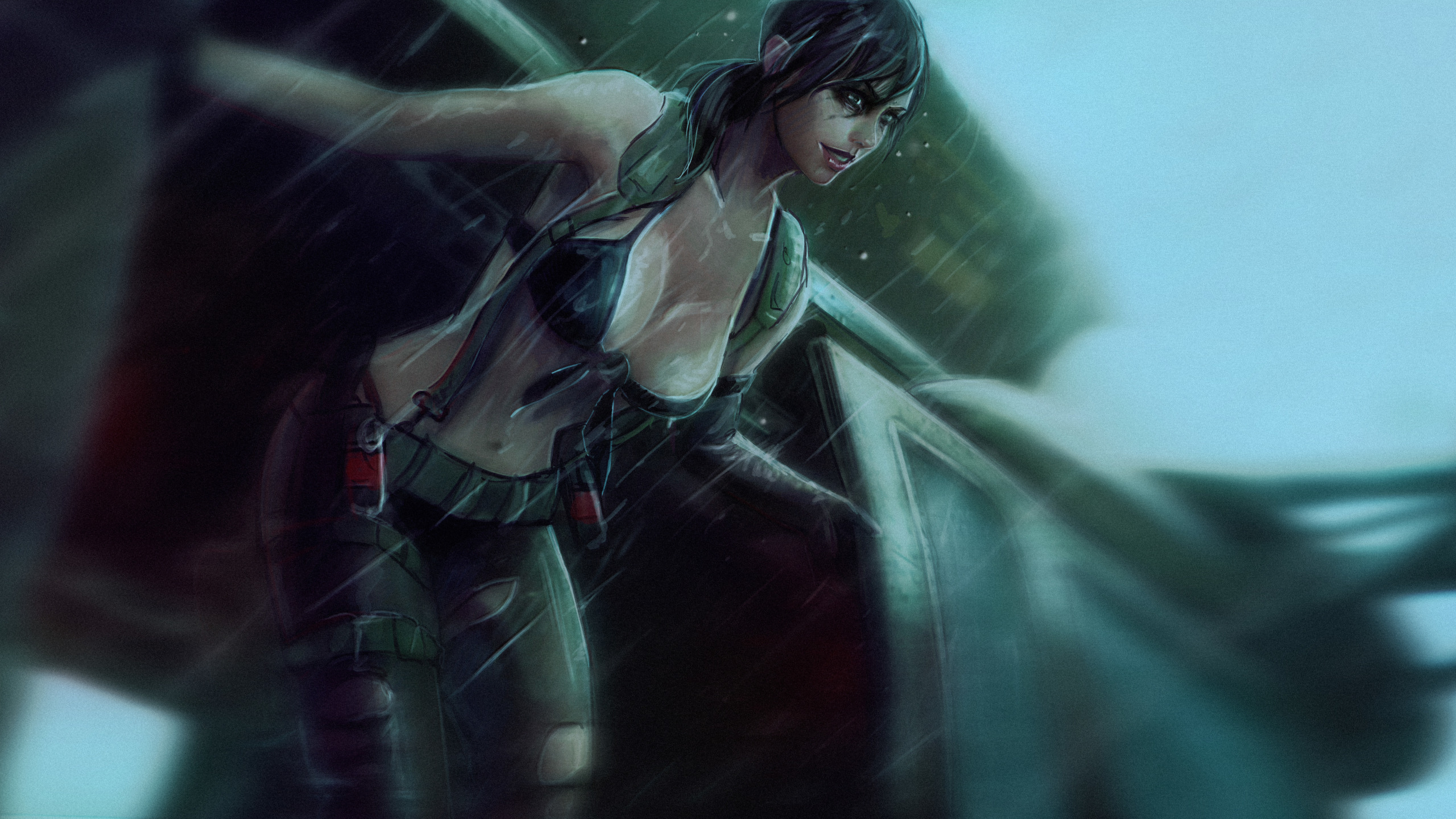 Download Wallpaper Chest Girl Rain Art Helicopter Sniper