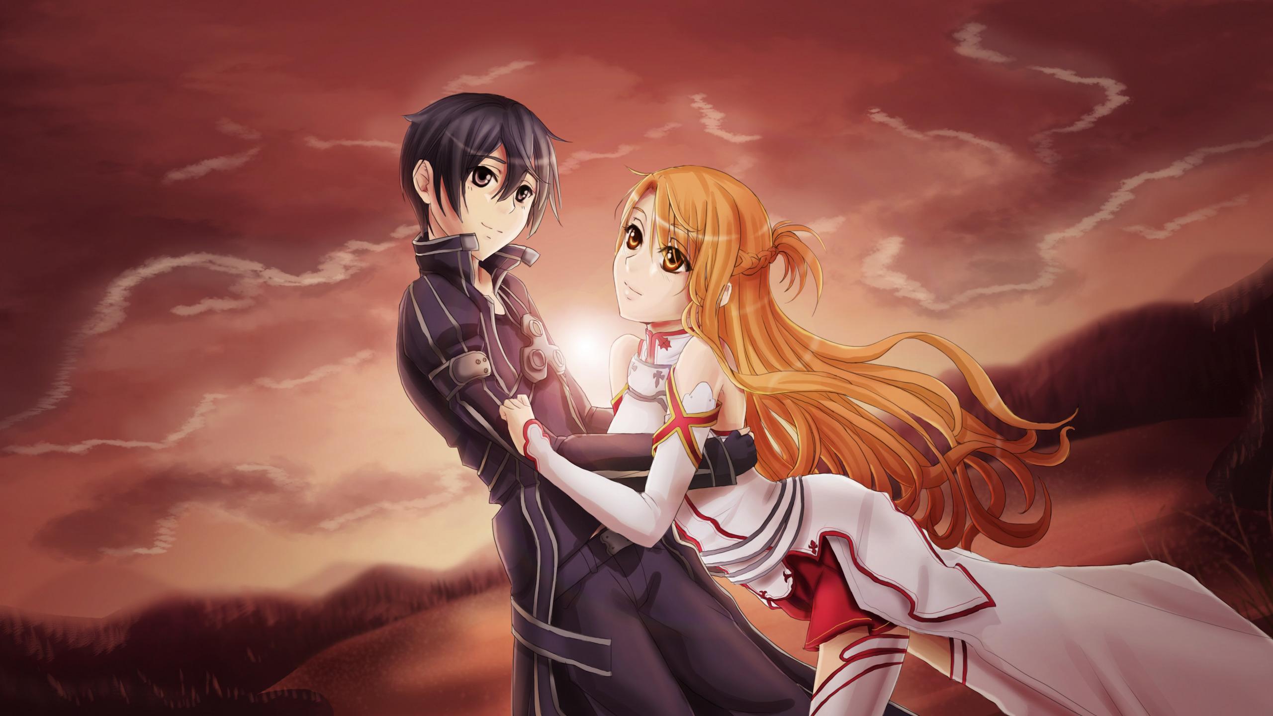 Download Wallpaper Girl Anime Guy Kirito Asuna Sword Art Online Section Shonen In Resolution 2560x1440