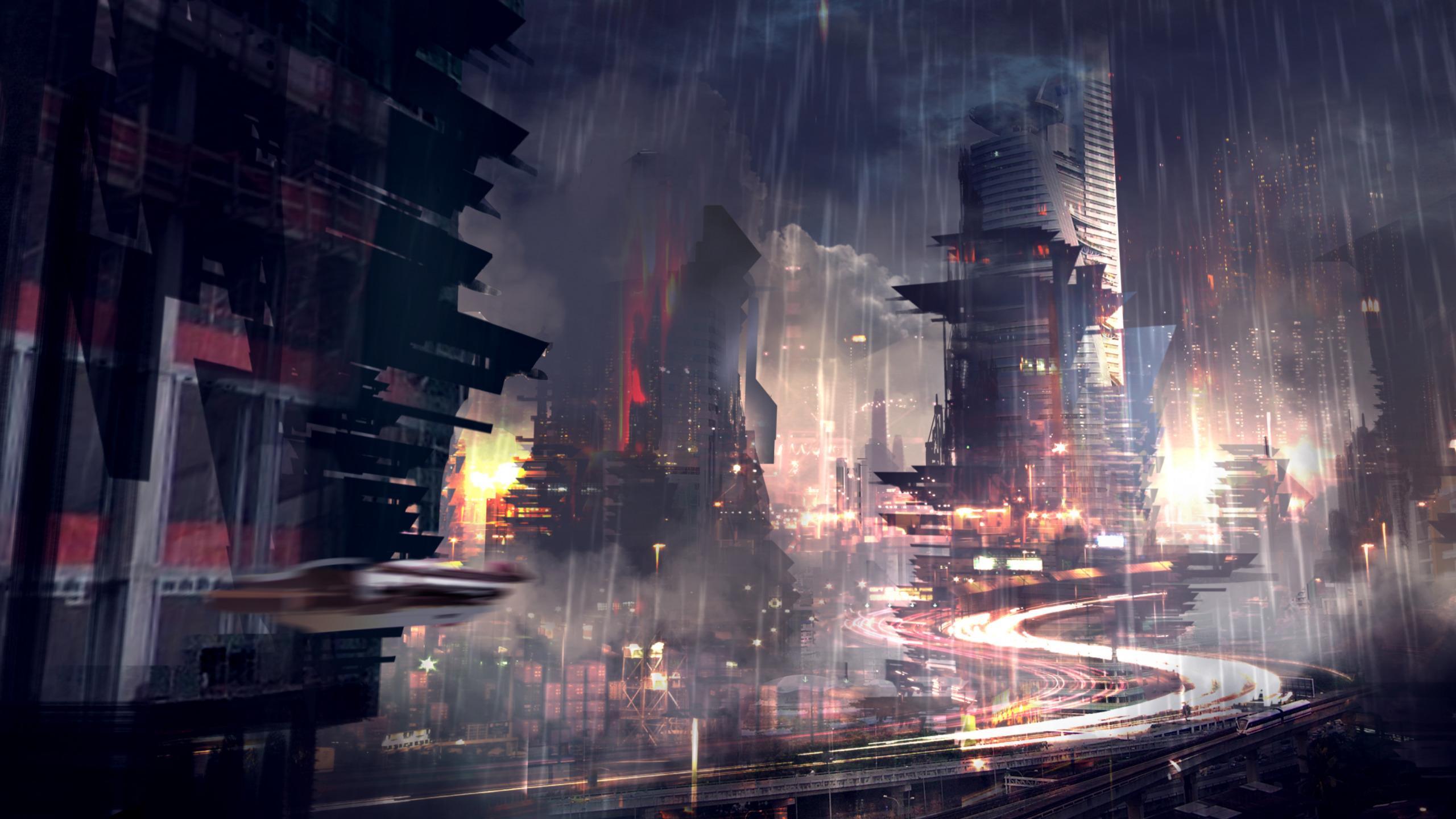 Download Wallpaper The City Future Rain Skyscrapers Noir