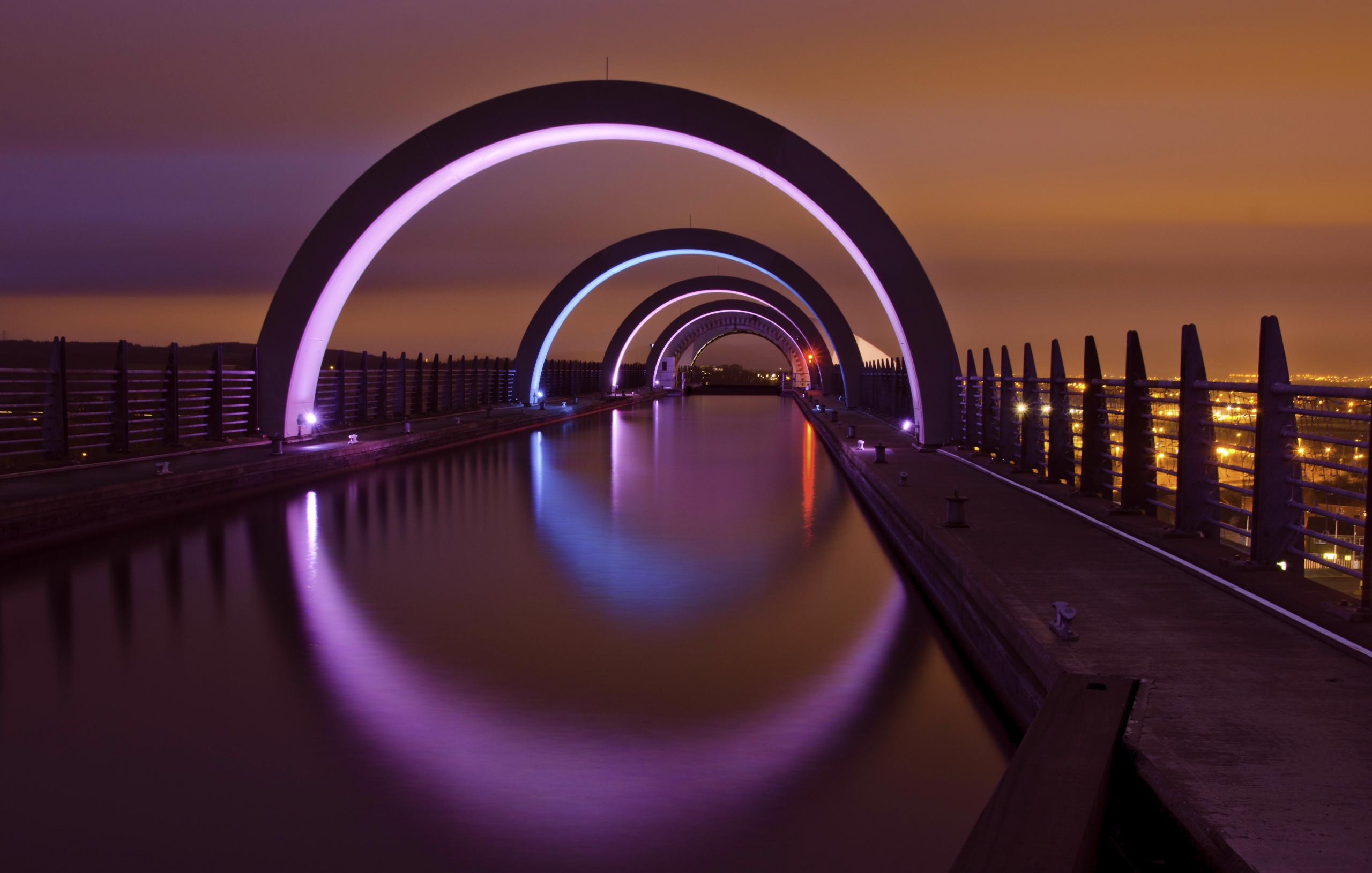 природа страны архитектура ночь река город мост  № 806772  скачать