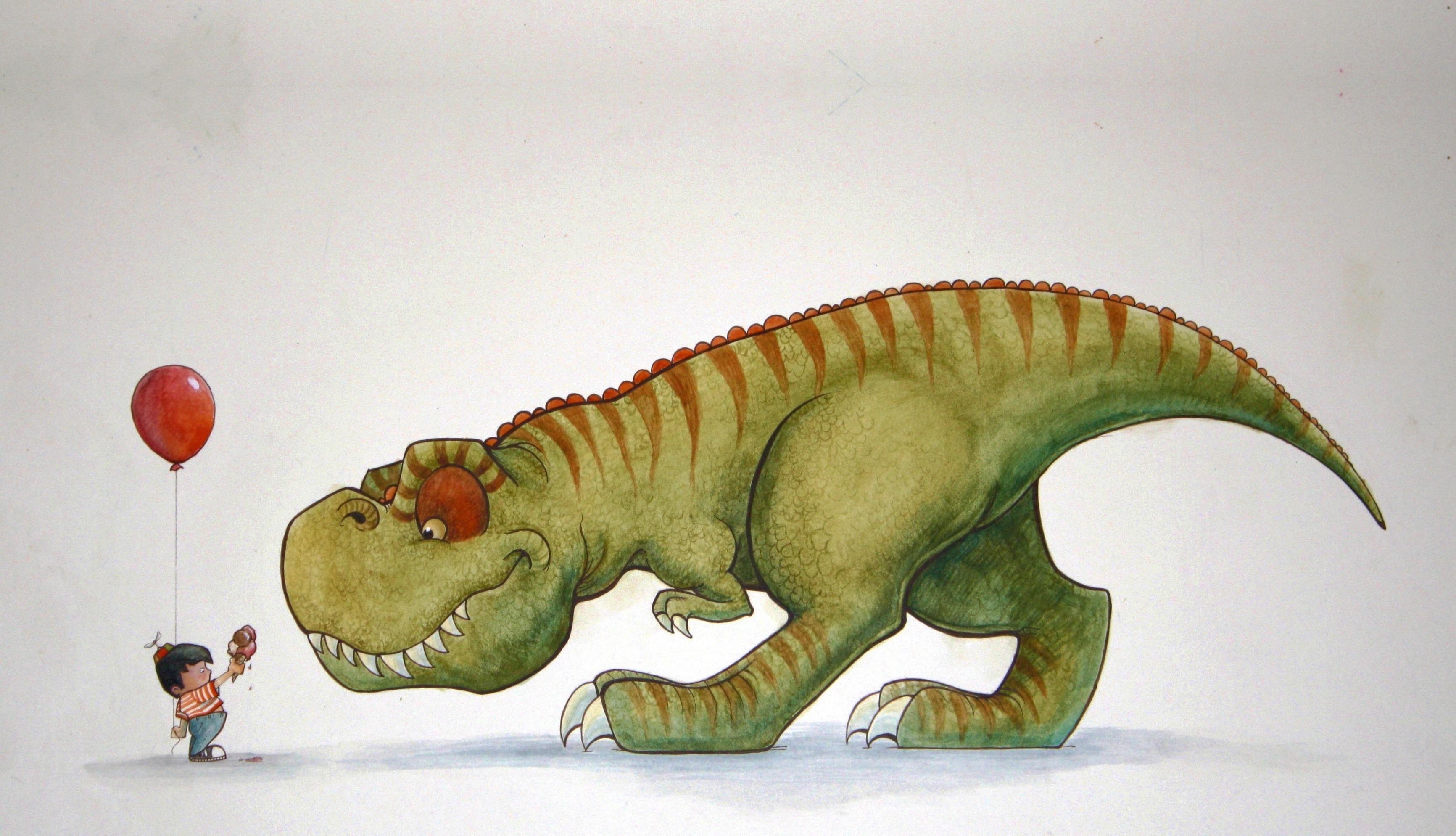Динозавр на фото с ребенком