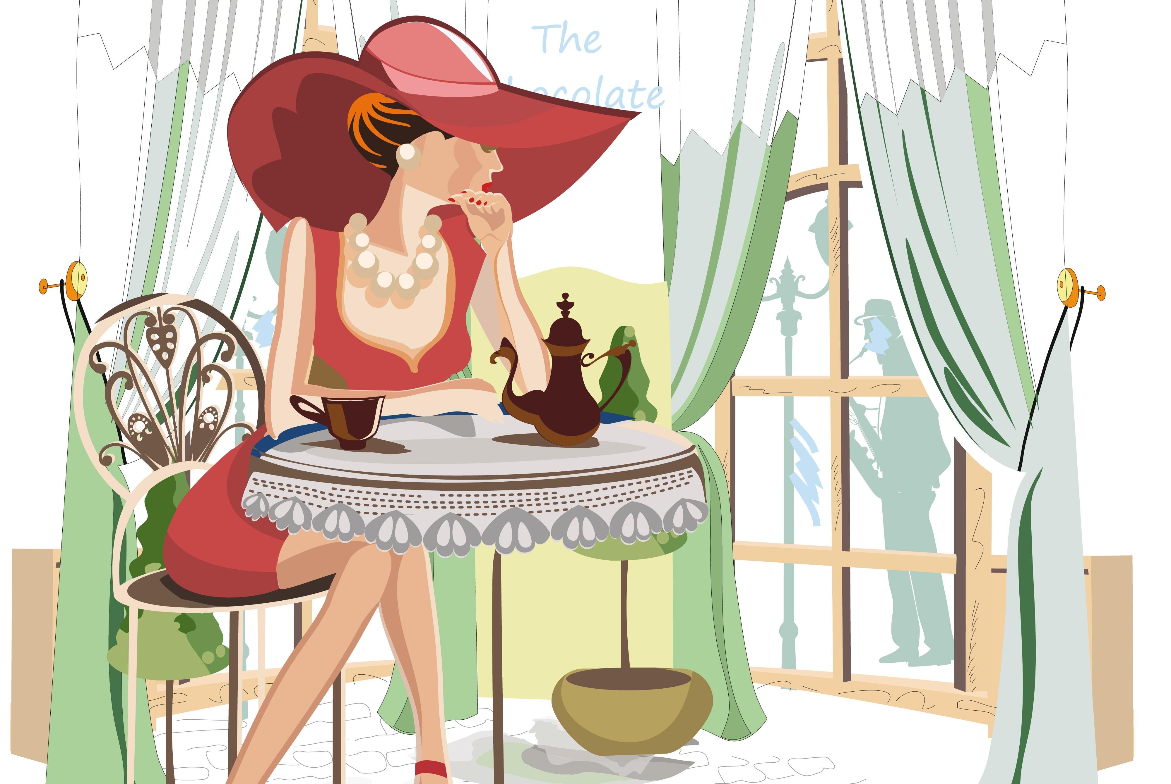 красотка,окно,сидит,кофе  № 418189 без смс