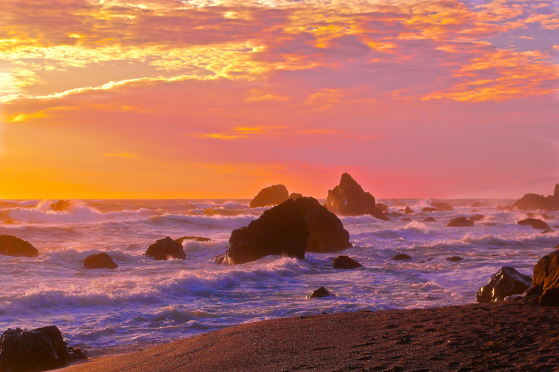 природа море горизонт камни облака небо скалы  № 432381 бесплатно
