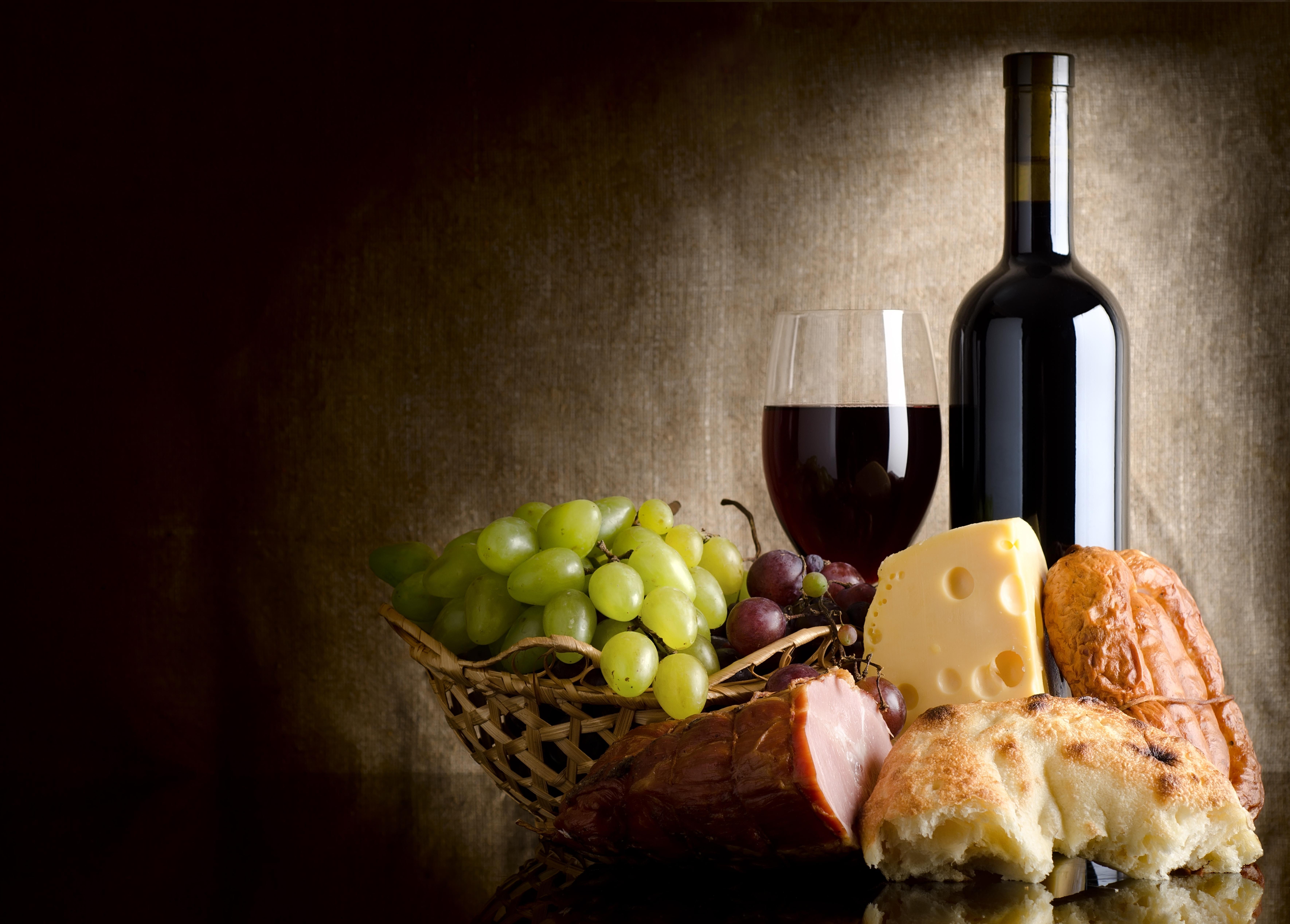 Обои для рабочего стола вино еда