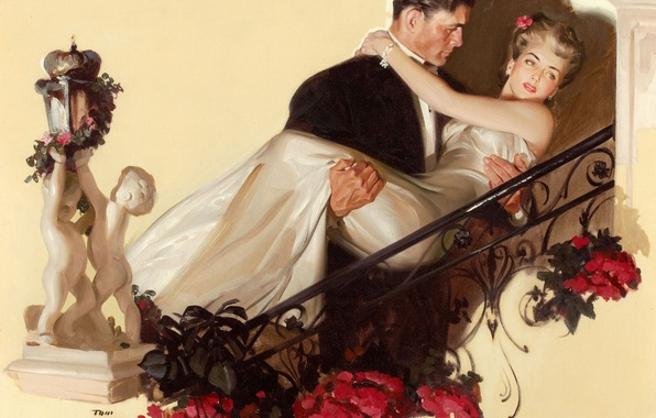 Picture flowers, woman, figure, picture, dress, male, two, Tom Lovell