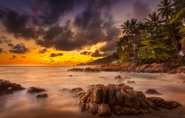 Picture rock, ocean, sunset, cloud, phuket