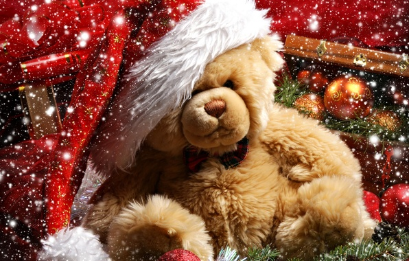 Picture snow, decoration, holiday, gift, balls, Christmas, New year, bear, bump, Christmas tree branch, Teddy bear