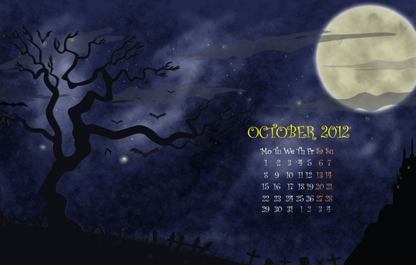 Picture night, tree, the moon, figure, vector, a month, October, cemetery, Halloween, calendar, number, helloween, october