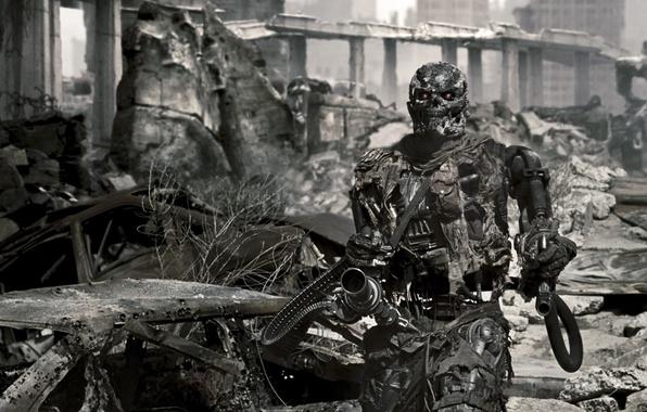 Picture the city, terminator, the ruins, machine gun