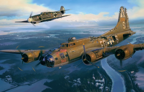 Wallpaper aviation, ww2, painting, airplane, BF-109, art ...