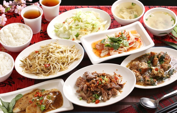 Picture fish, soup, figure, salad, seafood, Japanese cuisine, meals, cuts