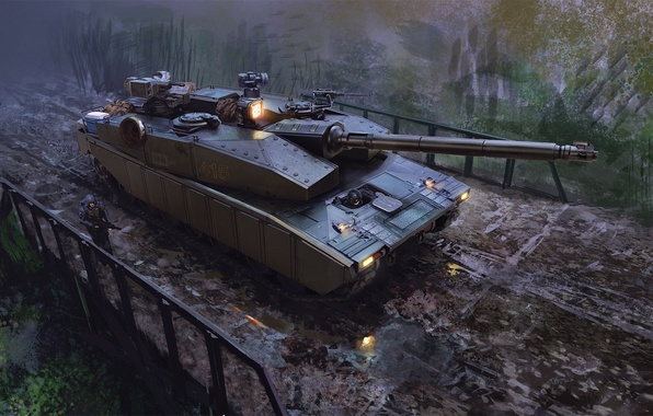 Picture bridge, weapons, people, art, tank, puddles, military