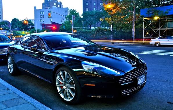 Picture Aston Martin, street, Shine, black, V8 vantage