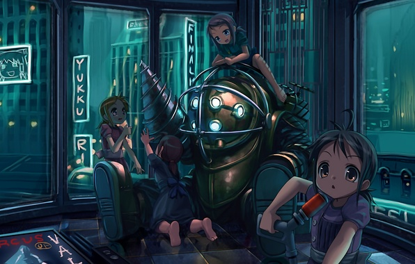 Picture bioshock, armor, girls, anime, town, diving suit