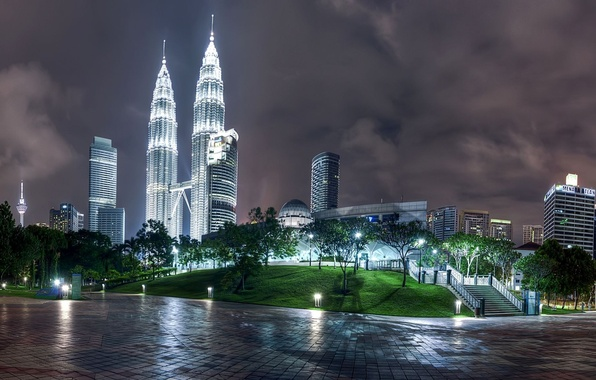 Picture light, landscape, night, the city, lights, building, the evening, skyscrapers, capital, country, Malaysia, the state, …