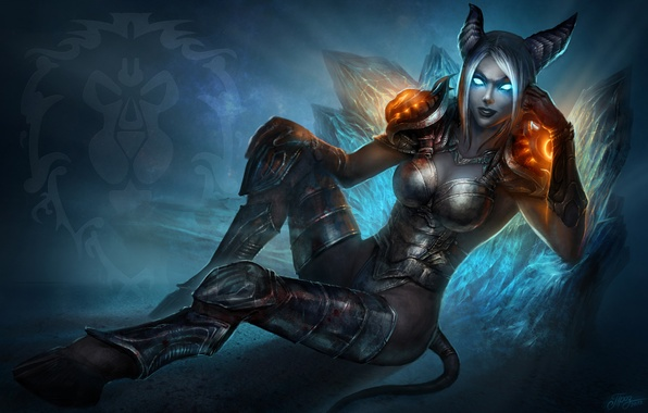 Picture girl, magic, blood, armor, tail, horns, WoW, World of Warcraft, Death Knight, hooves, Draenei