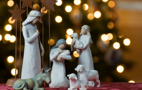Picture lights, holiday, tree, Christmas, figures, bokeh, figurines