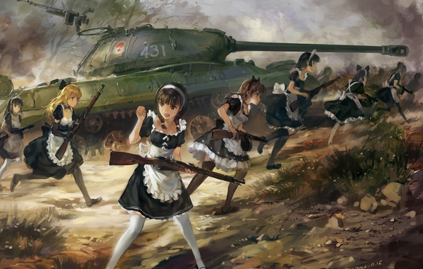 Picture weapons, girls, anime, art, the maid, upscale, tank is-3, hjl, rifle PPSH-41, the carbine Mosin