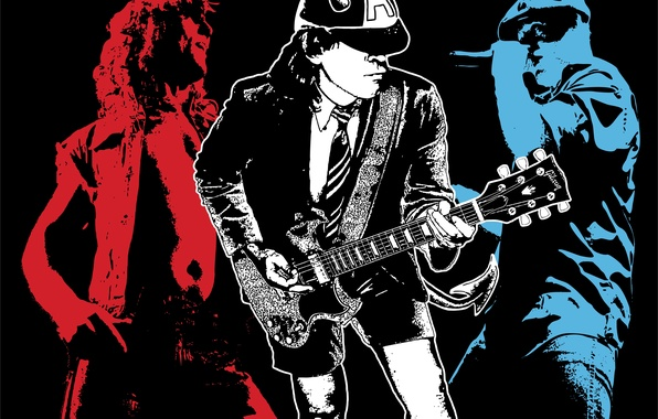 Picture white, blue, red, black, rock, AC/DC