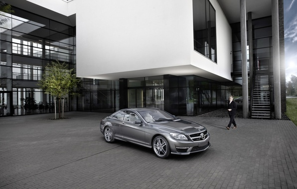 Picture the building, silver, Playground, Mercedes-Benz CL63 AMG 2011