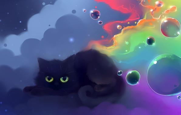 Picture cat, color, balls, figure, nyan, artist apofiss
