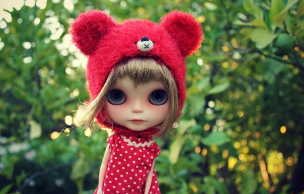 Picture look, toy, doll, ears, cap