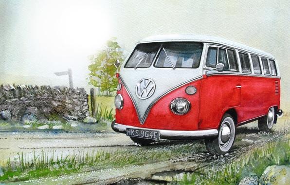 Picture machine, auto, figure, Volkswagen, painting, minibus, Transporter, Volkswagen, Type 2