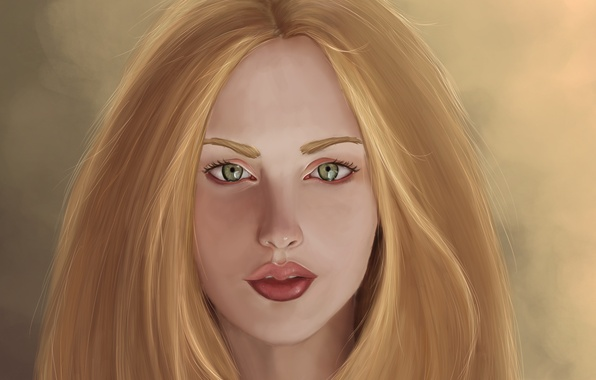 Picture look, girl, face, background, hair, art, lips, painting, green eyes