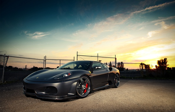 Picture the sky, clouds, sunset, the fence, F430, Ferrari, Ferrari, the front part