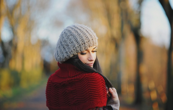 Picture autumn, look, girl, face, eyelashes, hat, jacket, binding