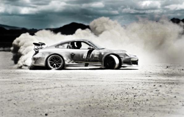 Picture sand, desert, Porsche, GT3RS, GoldRush