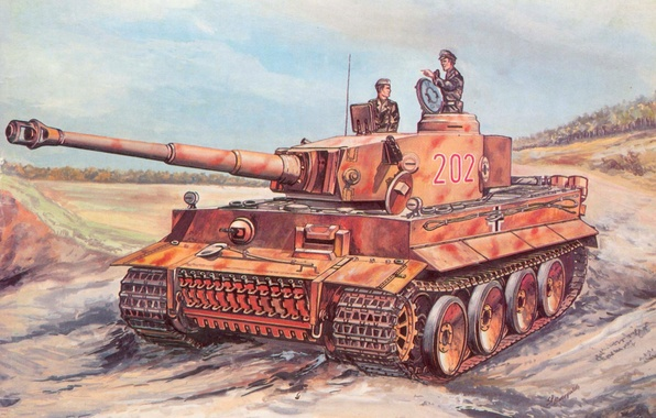Picture road, figure, art, tank, camouflage, the, combat, equipment, terrible, German, tankers, represented, a, The second …