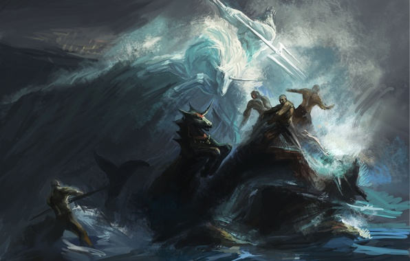 Picture sea, wave, storm, people, the ocean, rocks, storm, art, unicorn, Trident, battle, Poseidon, shuyinnosi