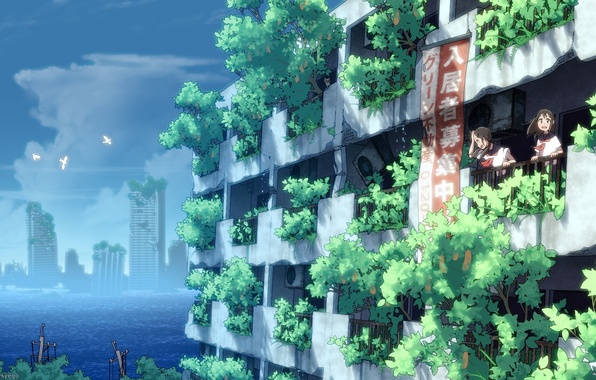 Picture the sky, water, clouds, birds, girls, home, anime, art, form, ruins, Schoolgirls, syego