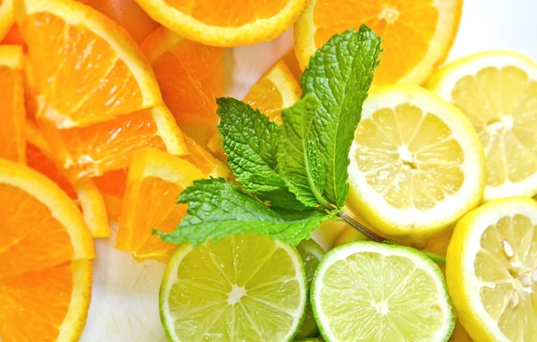 Picture lemon, orange, food, lime, mint, freshness.