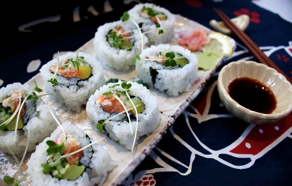 Picture greens, crab, fish, Japan, cucumber, Japan, figure, rolls, sushi, rolls, seafood, Japanese cuisine, avocado, salmon, …