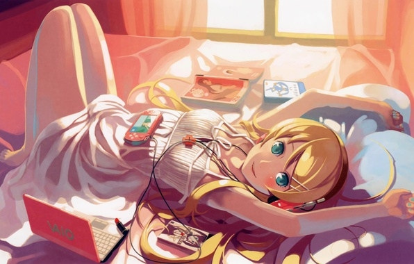 Picture books, headphones, girl, bed, lies, laptop, video game