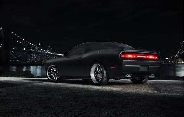 Picture night, bridge, the city, black, Dodge, Challenger, muscle car, black, Dodge, megapolis, muscle car, Challenger