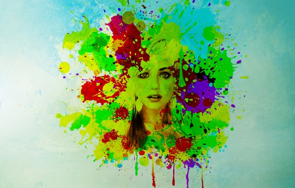 Picture eyes, look, girl, face, background, paint, hair, spot, lips